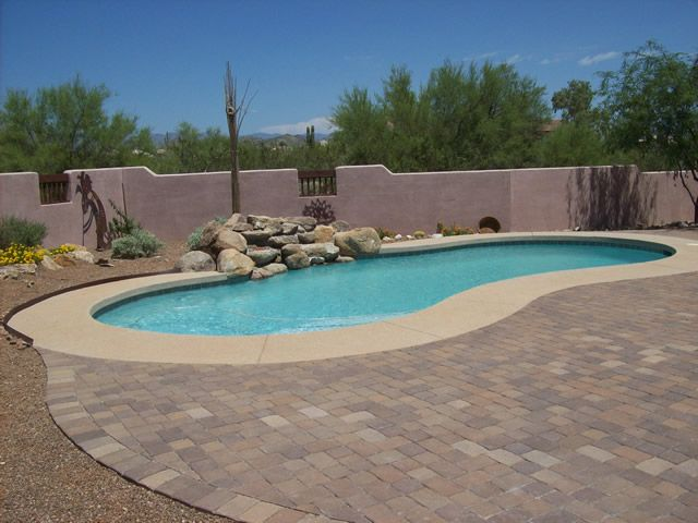 Paver and concrete around pool arizona pool decking for Pool design az