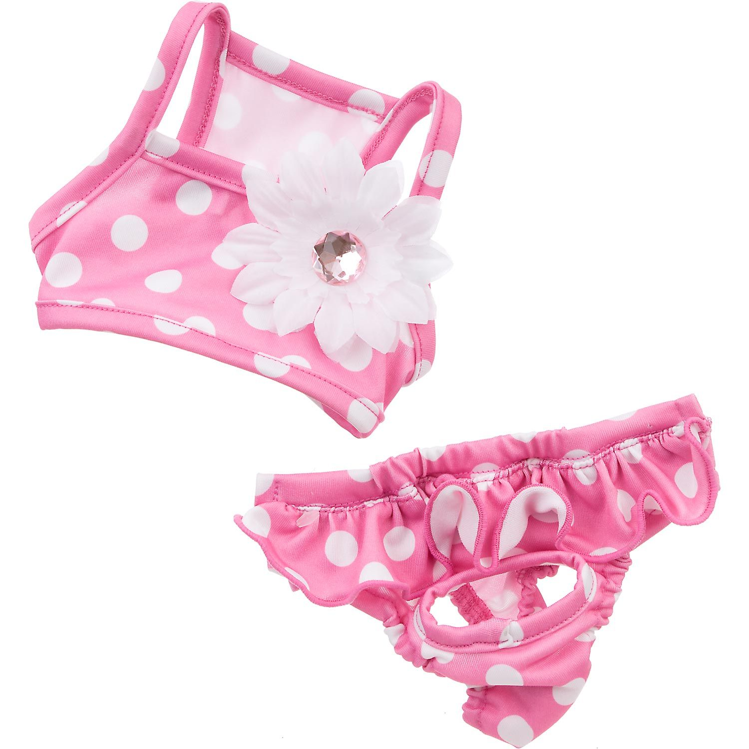Petco Smoochie Pooch Pink Polka Dot Flower Dog Bikini Dog