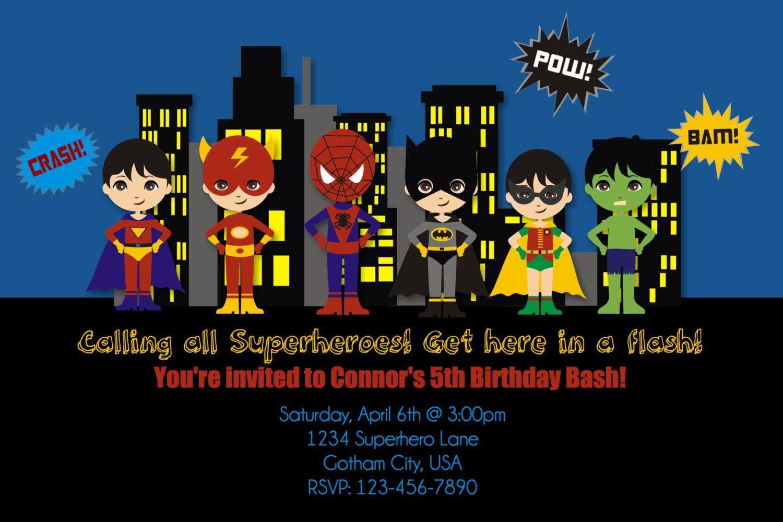 picture regarding Free Printable Superhero Birthday Invitation Templates identified as Down load Totally free Printable Superhero Birthday Invites
