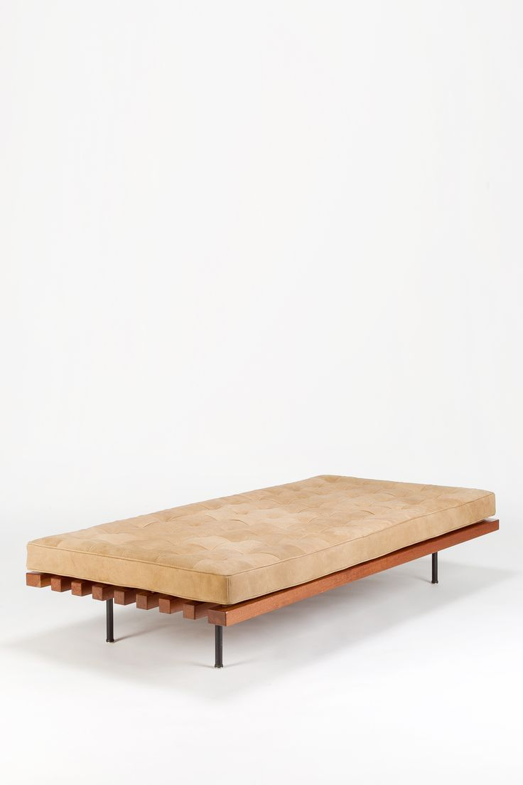 Dieter Wäckerlin; #2 Mahogany and Enameled Steel Daybed for Idealheim, 1960s.