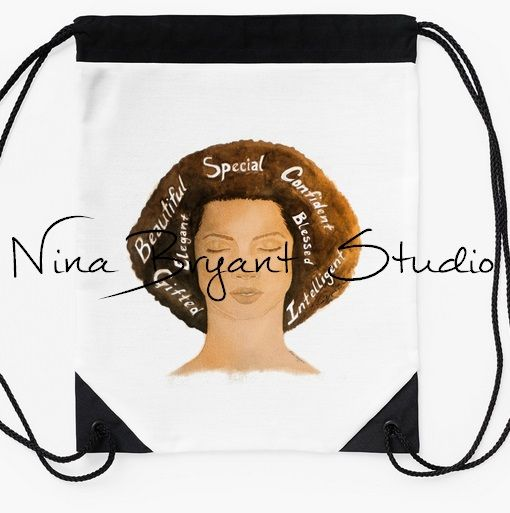 """Who She Is"" Drawstring Bag by Nina Bryant Studio. Available here: bit.ly/NBSBags ($27)"