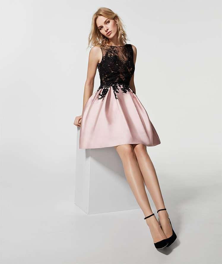 Vestito corto nero e rosa cipria di Pronovias 2018