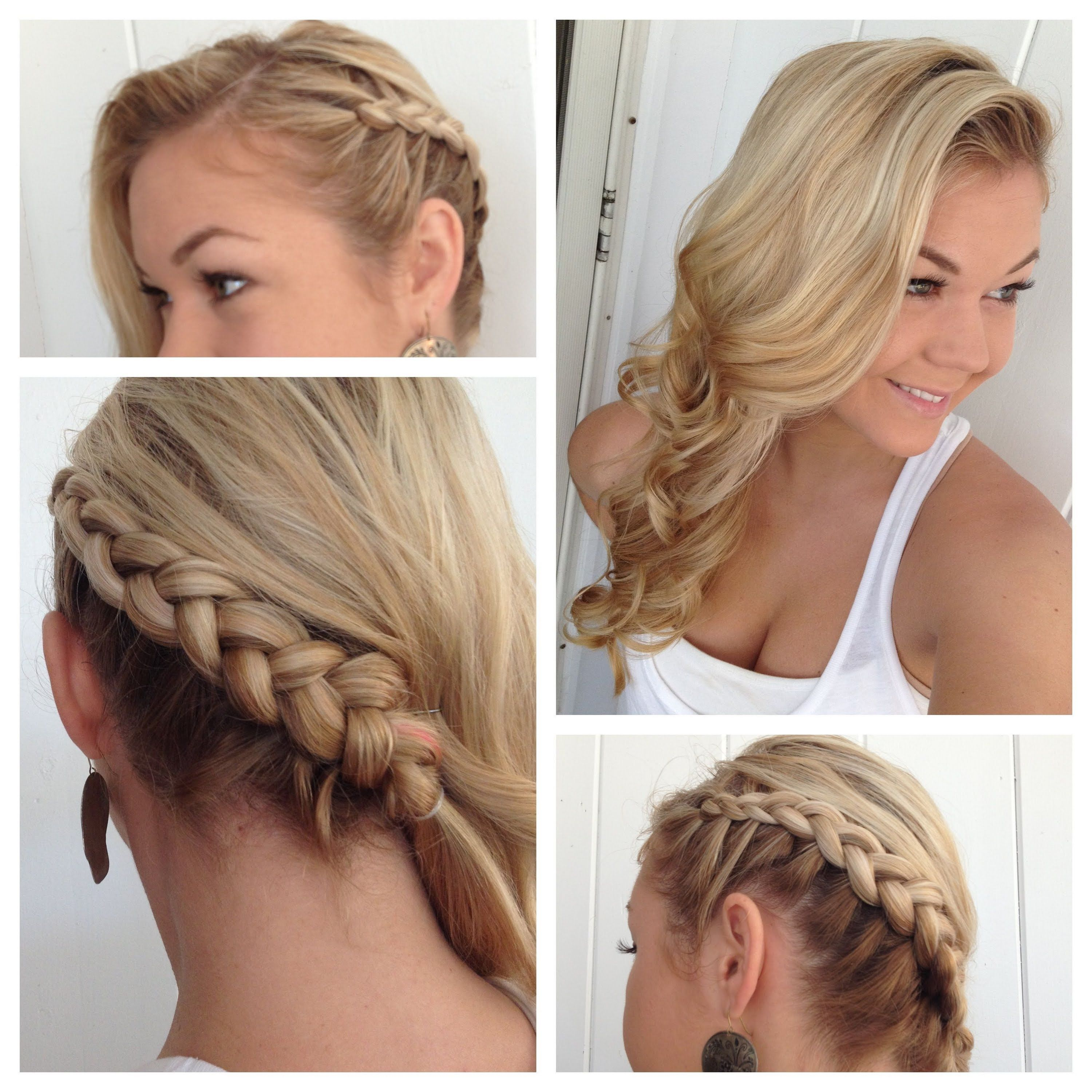 Side Dutch Braid To The Back Into Classic Curls Bridesmaid Hair Side Side Braid Hairstyles Braids With Curls