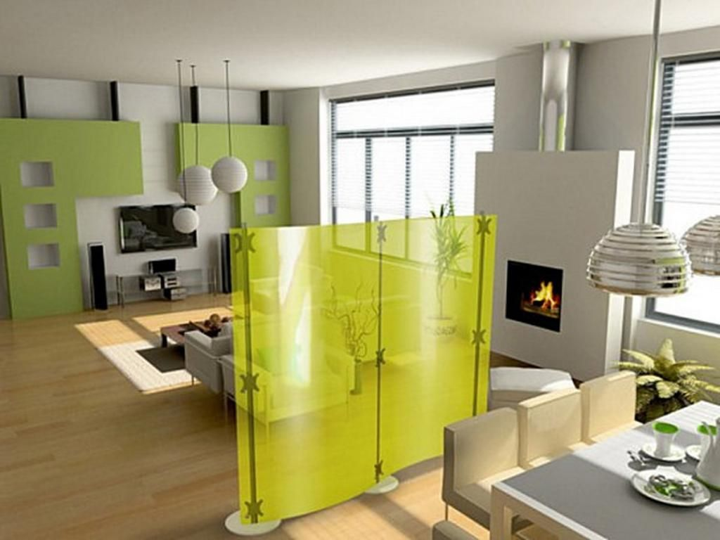 awesome yellow wall partition for apartment with fireplace beside ...