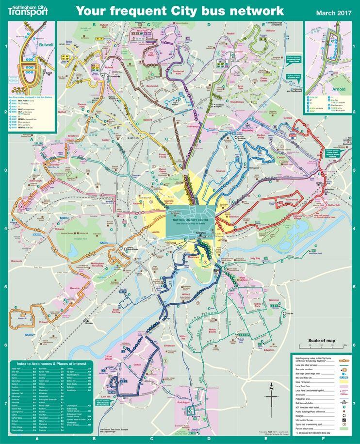 Nottingham bus map Maps Pinterest Bus map Nottingham and City