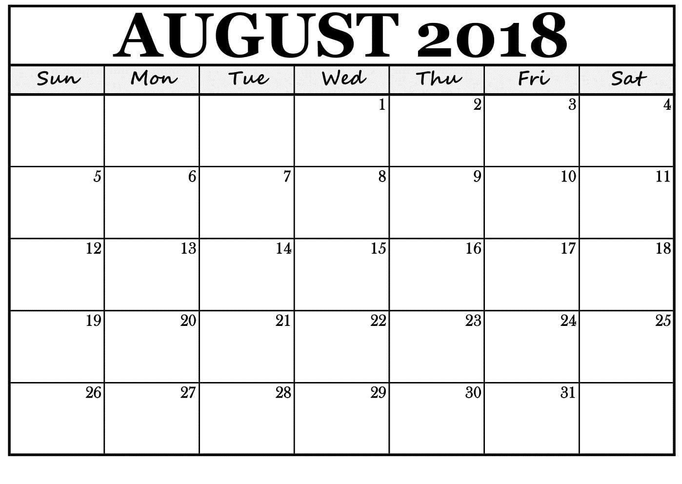 Pin By 4khd On August 2018 Calendar Template 2018 Calendar