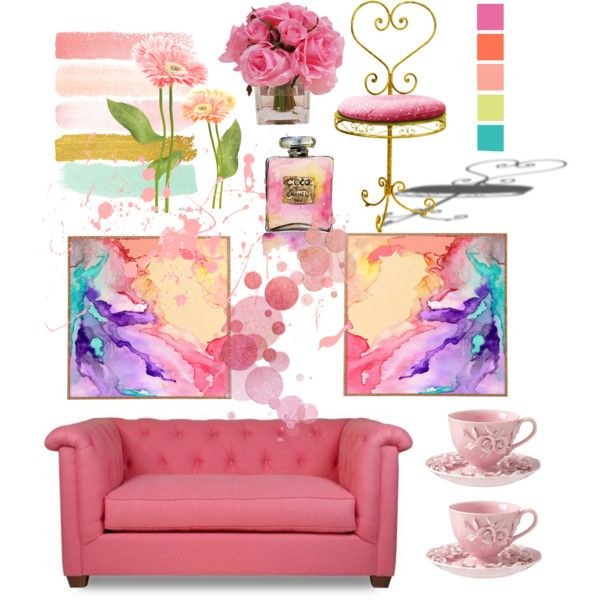 pink by mzdarlin on Polyvore featuring polyvore interior interiors interior design home home decor interior decorating The French Bee Chanel Lulu DK