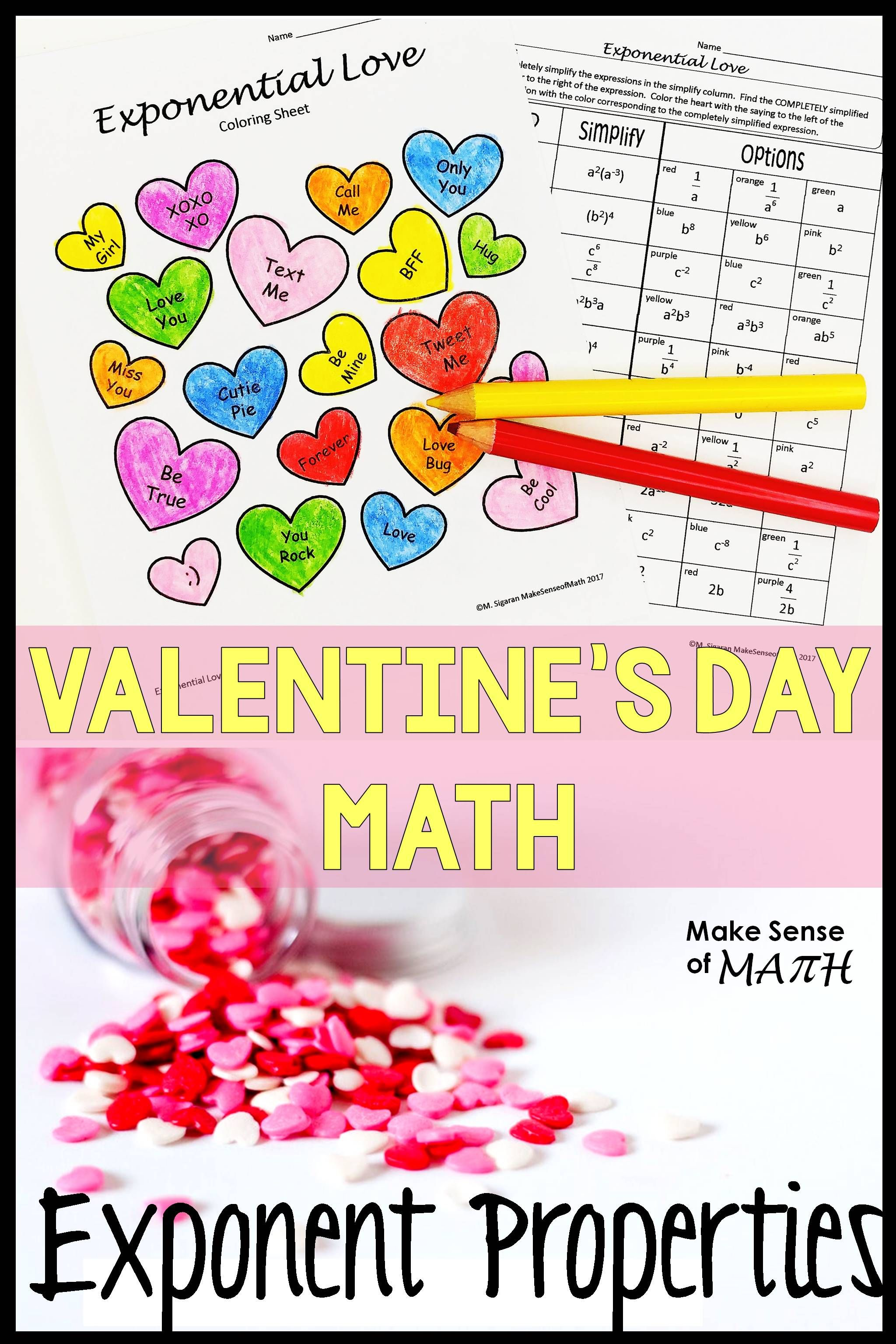 Valentine S Day Math Activity Simplifying Exponents