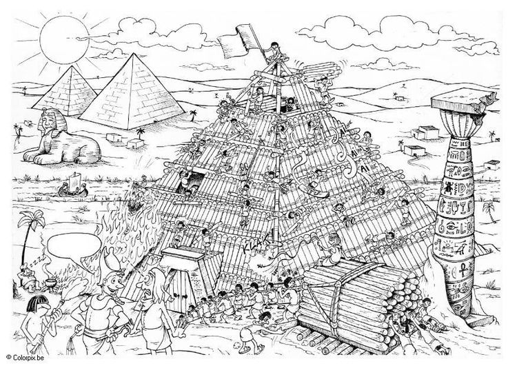 Coloring page building a pyramid