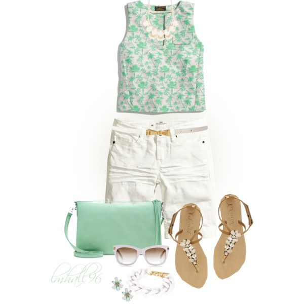 Cropped Top and White Shorts 2, created by lmhall96 on Polyvore
