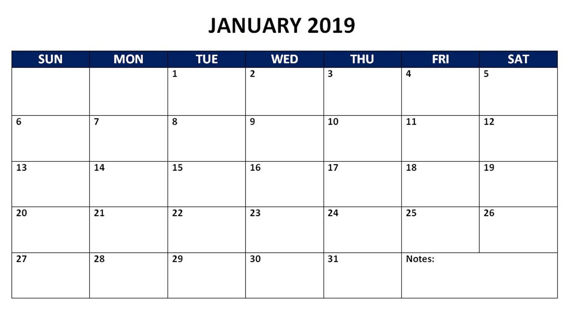 January 2019 Monthly Calendar 2019 Calendars Pinterest
