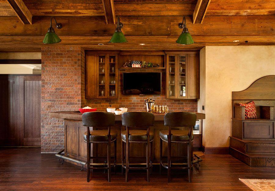 16 Esempi di Angolo Bar in Casa con Arredamento Rustico   Bar