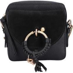 Handtasche Joan Kalbsleder metallisch logo schwarz Chloé