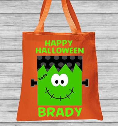 Trick or Treat Bag Frankenstein Halloween Bag Personalized Canvas Bag, Nylon Drawstring Bag by CleanlyWheatGraphics on Etsy