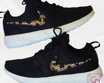 204ca84ea721aa Women s Nike Roshe Two in Black w  White Sole with Swarovski crystal  cheetah print - Nike Swarovski - Custom Shoes - Bling Shoes - Roshe Run