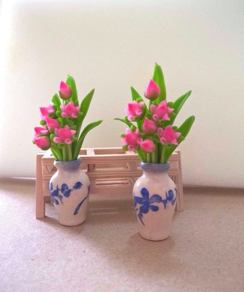 Miniature Pink Lotus Flower Vase With Stand Home Decorative Craft