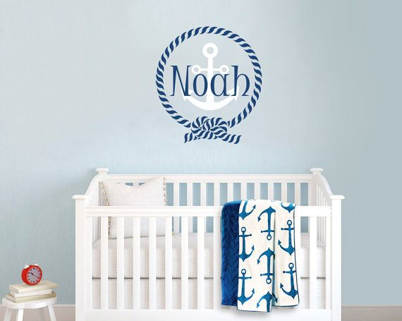 Nautical Sailor Themed Frame Personalized Custom Name Vinyl Wall - Personalized custom vinyl wall decals for nursery