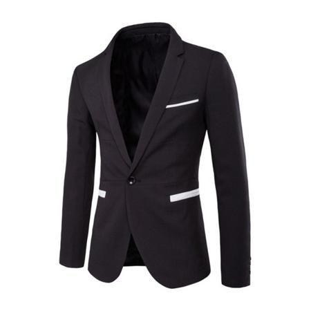 Long Sleeve Slit Back Contrast Piped Pockets Blazer