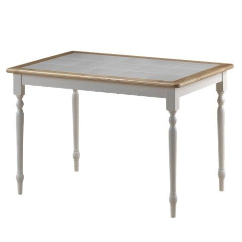 Boraam Industries Tile Top Dining Table White Natural