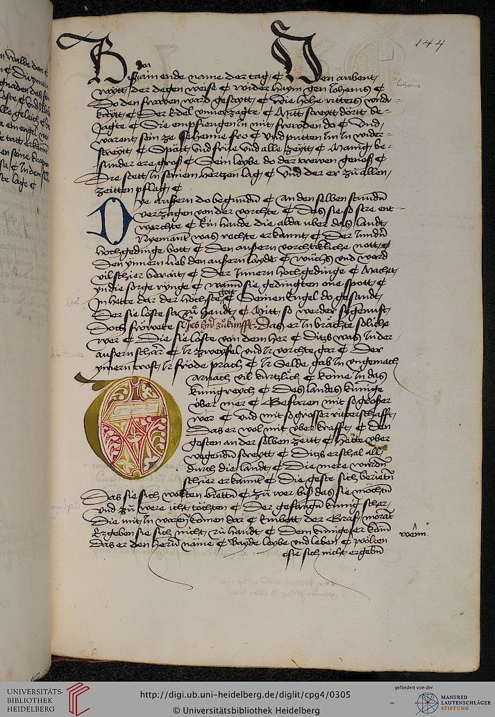 Cod. Pal. germ. 4 Rudolf von Ems: Willehalm von Orlens ; Dietrich von der Glesse: Der Gürtel (Borte) ; Peter Suchenwirt: Liebe und Schönheit u.a. — Schwaben/Grafschaft Oettingen (?), 1455-1479 144r