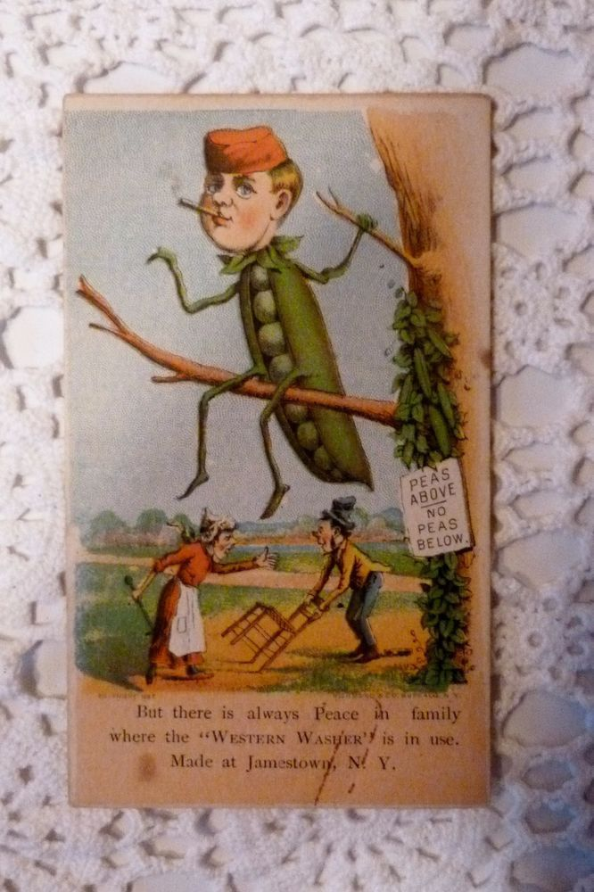 ANTHROPOMORPHIC Western Washer Veggie Pea Pod Man Trade Card #WesternWasher