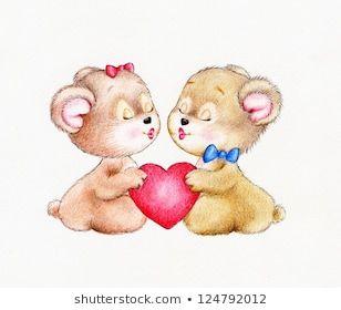 Two Teddy bears fall in love | Медведь, Африканцы, Младенцы