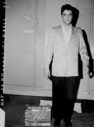 Elvis wardrobe test on the movie set of Jailhouse rock in may 24 1957.