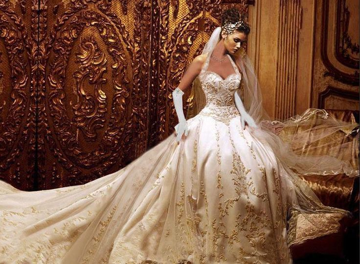 e5be489523f This is the most Beautiful wedding dress I ever seen it has a gourgose long  train and Beautiful sequeins and the satin gloves pull the dress together  and ...