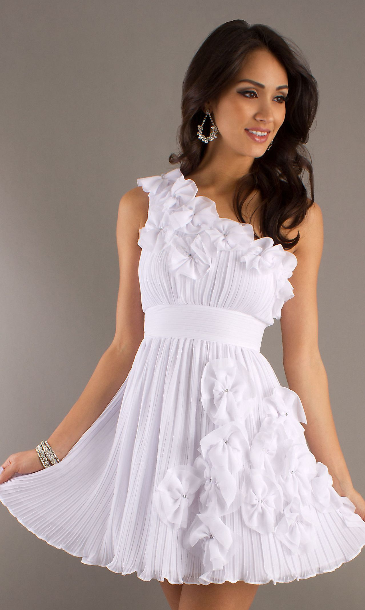 """Short One Shoulder Dress XO-6221AHC1""    Cute for a wedding reception party dress."