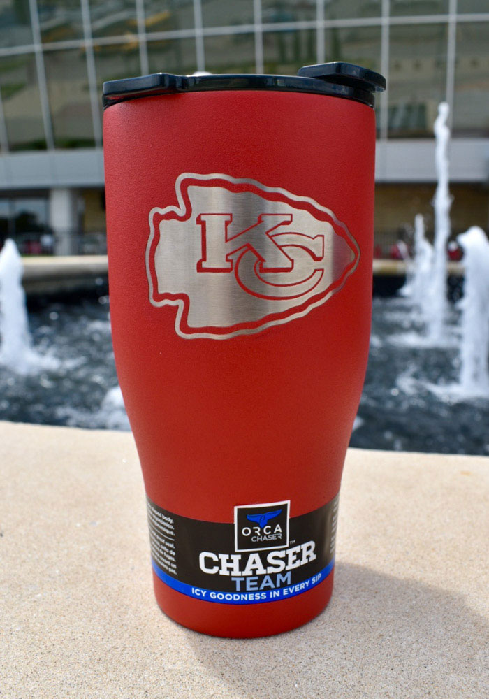 Kansas City Chiefs Orca Chaser 27oz Laser Etched Logo Stainless Steel Tumbler Red Beer Company Kansas City Stainless Steel Tumblers