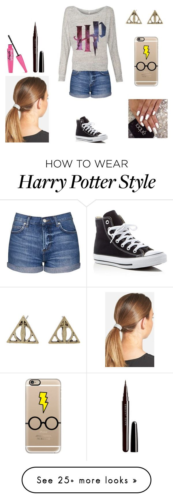"""watching Harry Potter with friends"" by harrypotter-gurl on Polyvore featuring Topshop, Converse, Casetify, L. Erickson and Marc Jacobs"