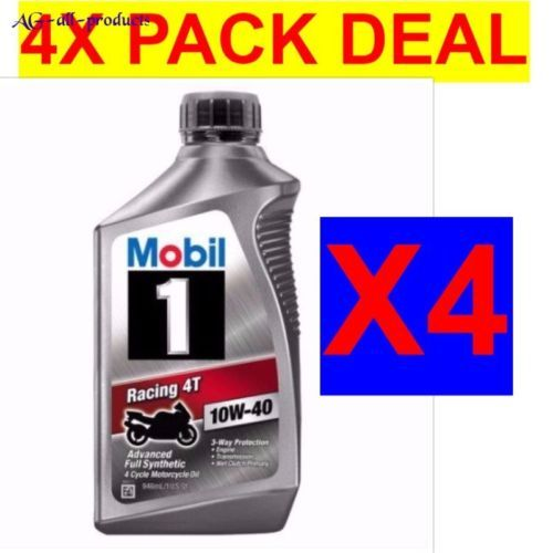 4 Pack Deal Mobil 1 10w 40 Full Synthetic Motorcycle Oil 1 Qt Free Shipping Oils Synthetic Deal