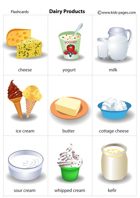 Dairy Products flashcard No dairy recipes, Food