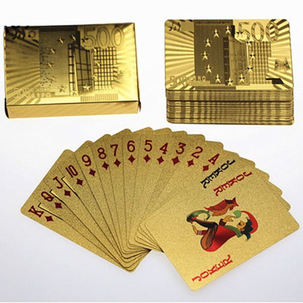 24K Gold-Foil Poker Plated Euro 500 Playing Cards Texas Poker Art 5 sets
