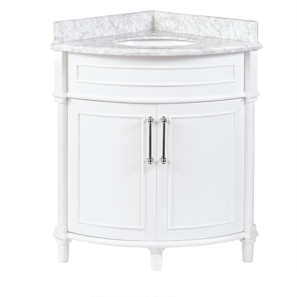 Home Decorators Collection Aberdeen 32 In W X 23 In D Corner Vanity In White With Carrara Marble Top With White Sinks Aberdeen 32w The Home Depot Corner Bathroom Vanity Corner