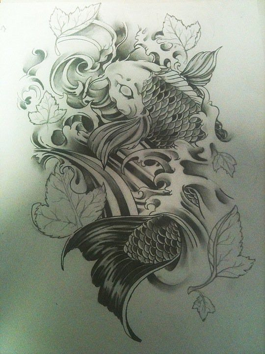 Koi Fish And Water By Lilmrsfrankenstein On Deviantart Koi Tattoo Design Koi Tattoo Koi Fish Tattoo