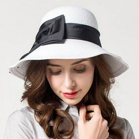 White straw hat with bow summer UV beach foldable womens sun hats ... fa2b029c535b