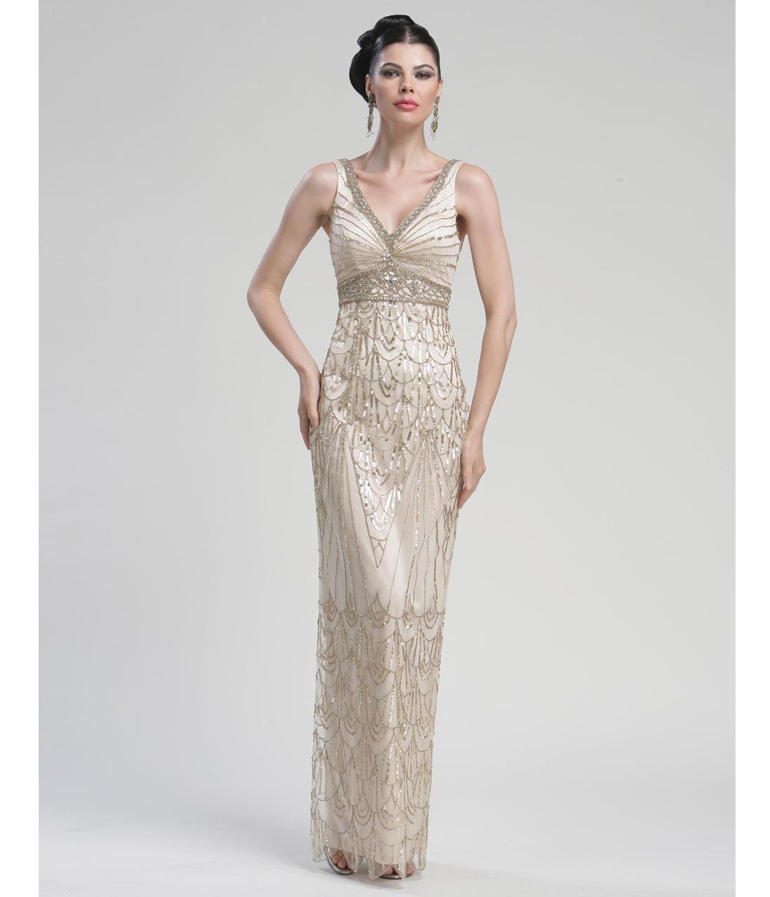 Long Champagne Sequined Tank Gown - Unique Vintage - Cocktail ...