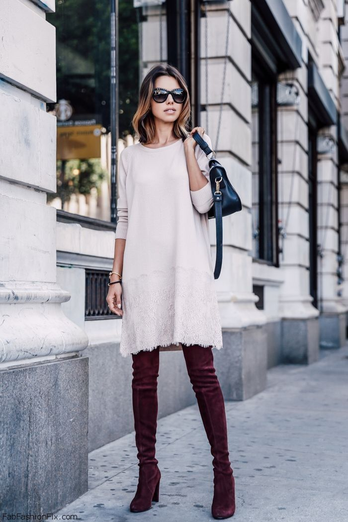 7d4ec3f7e65 Anabelle Fleur wearing white sweater dress and Stuart Weitzman burgundy over -the-knee boots.  streetstyle  suedeboots