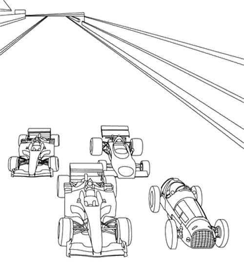 Four Car Start Track Coloring Page Race Car Car Coloring Pages