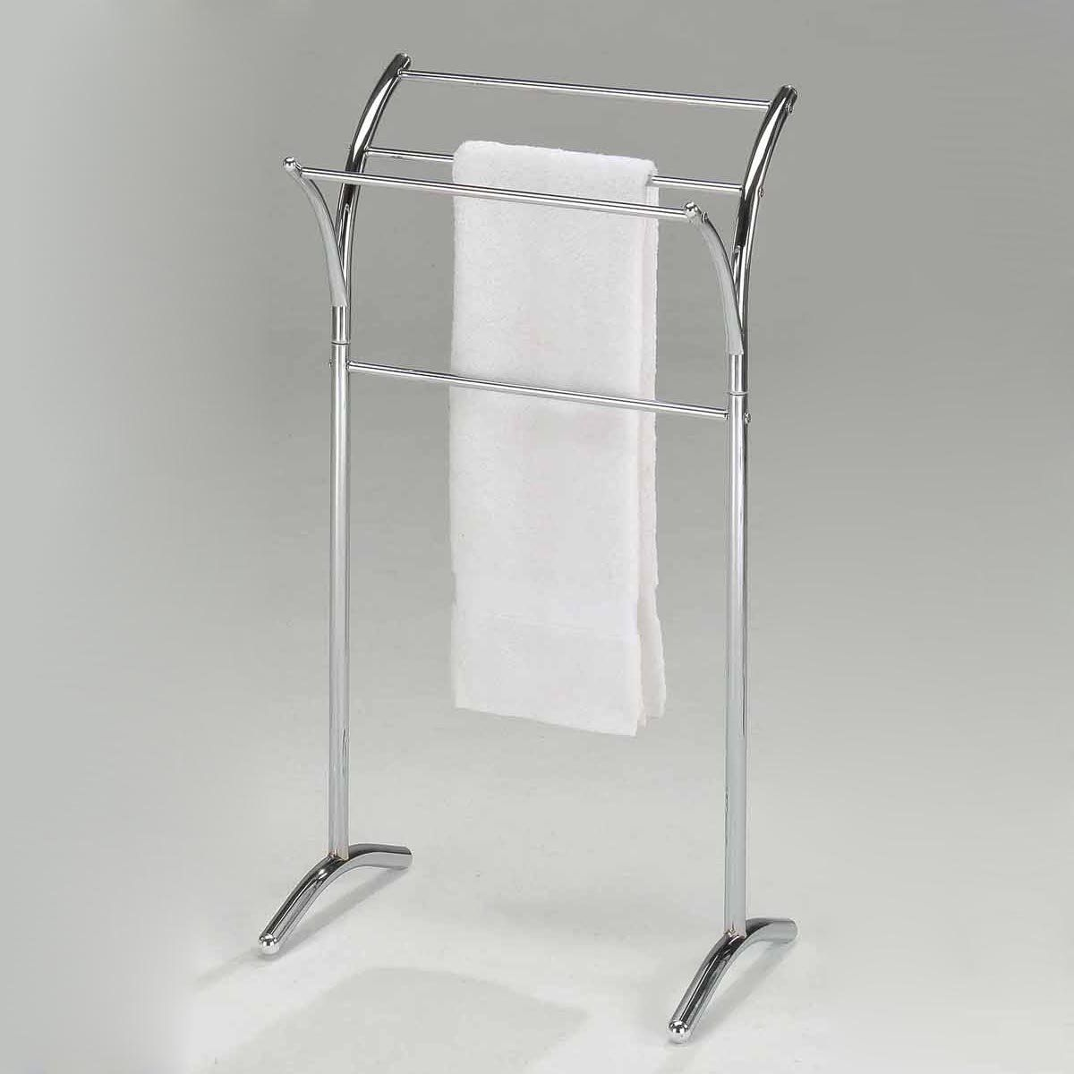freestanding pin chromed rack modern stand design bathroom towel three