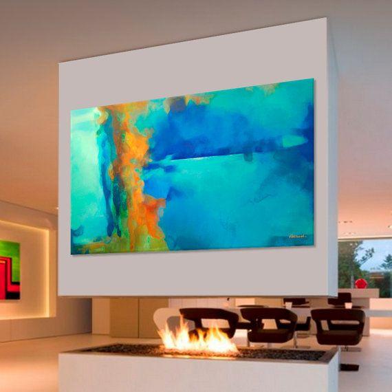 Pintura abstracta azul turquesa azul verde naranja for Pintura verde turquesa
