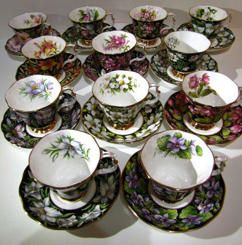 Royal Albert Bone China Provincial Flowers Tea Cups Set 12 And