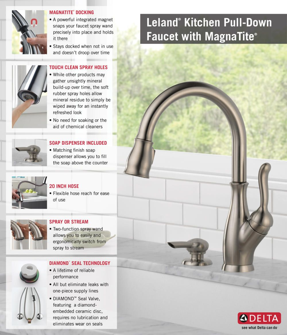 Delta Leland Single-Handle Pull-Down Sprayer Kitchen Faucet with ...