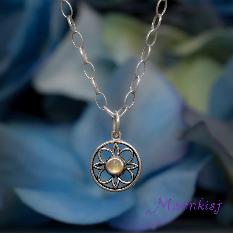 Petite silver filigree bezel set rainbow moonstone pendant and chain