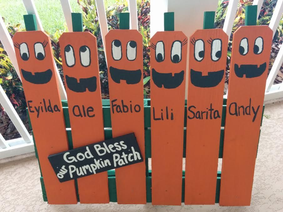 half pallet with personalized pumpkin family cute and unique halloween decor