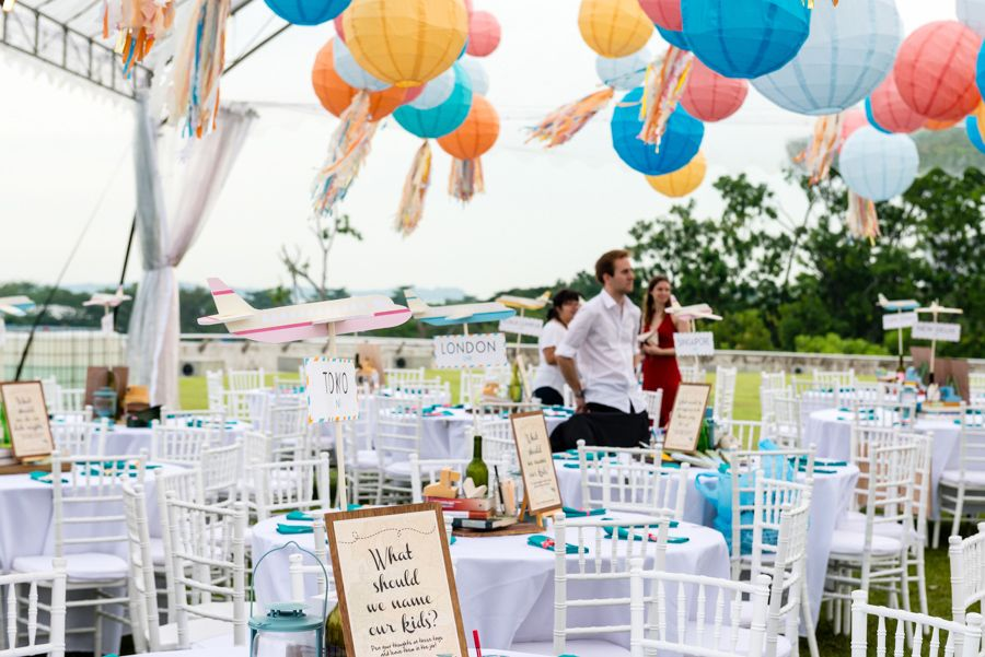 Colour Paper Lanterns And Travel Inspired Table Decor A Vibrant