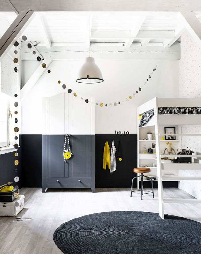 Blackened White Room With A Touch Of Yellow, Bunk Bed With The Desk Under