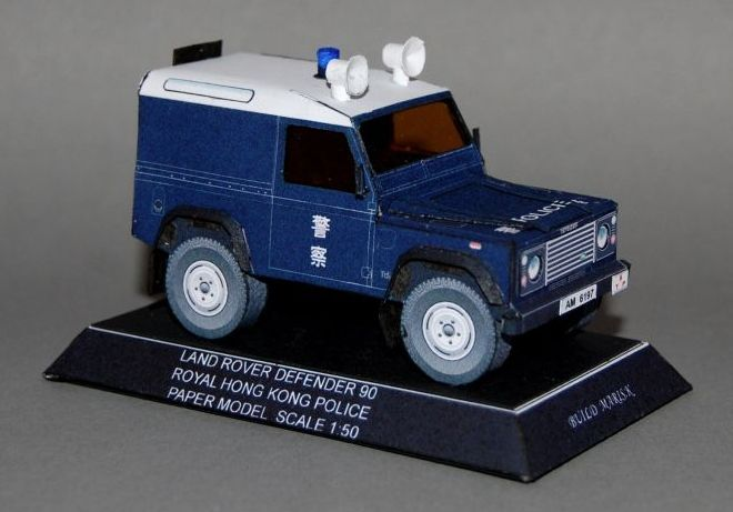 Hong Kong Police Land Rover Defender 90 Free Vehicle Paper Model Download - http://www.papercraftsquare.com/hong-kong-police-land-rover-defender-90-free-vehicle-paper-model-download.html#135, #Defender, #Defender90, #LandRover, #LandRoverDefender, #LandRoverDefender90, #SUV
