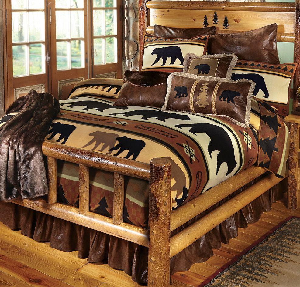 Black Bear River Plush Blanket   Queen